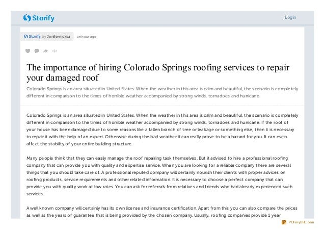 by Jenifermorisa an hour agoThe importance of hiring Colorado Springs roofing services to repairThe importance of hiring C...