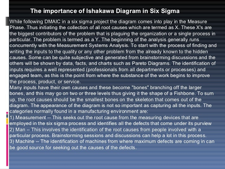 The importance of Ishakawa Diagram in Six Sigma While following DMAIC in a six sigma project the diagram comes into play i...