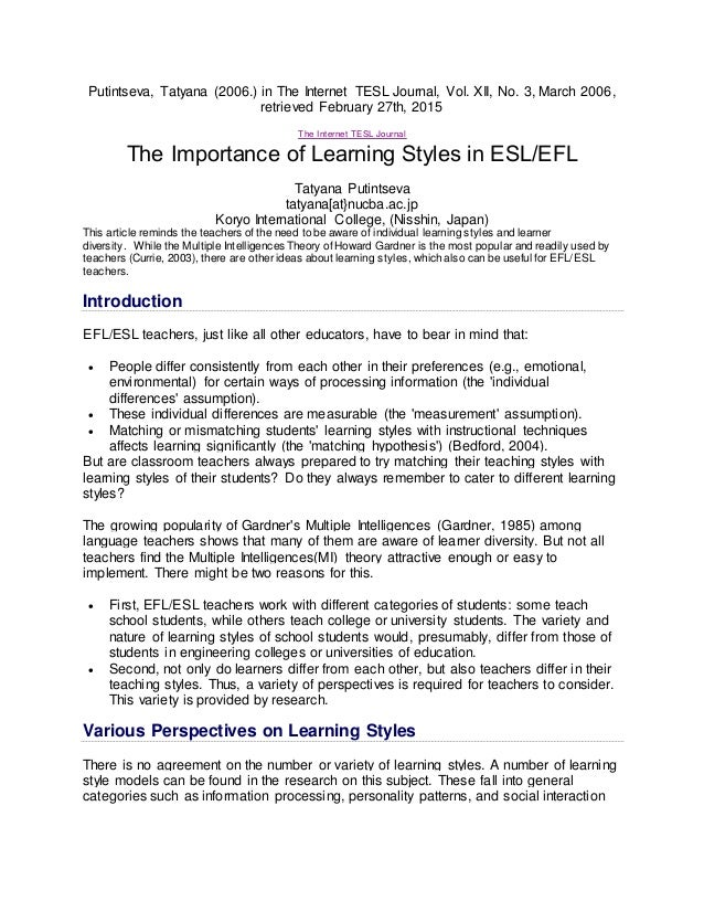 Are Learning Styles Real And Useful >> The Importance Of Learning Style In Esl Efl