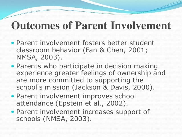 parent involvement research thesis Practitioners and policy makers alike intuitively accept the importance of parental involvement in parental involvement: a research brief for practitioners.