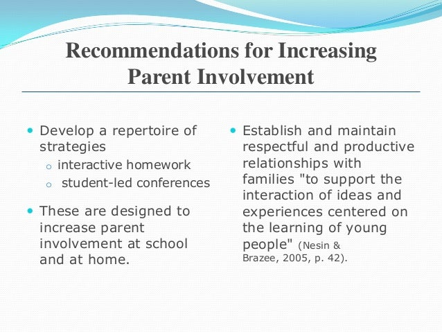 the importance of parent engagement to education Substantial body of evidence that parent involvement and engagement is  associated with children's  background or the parents' education level 2  students.
