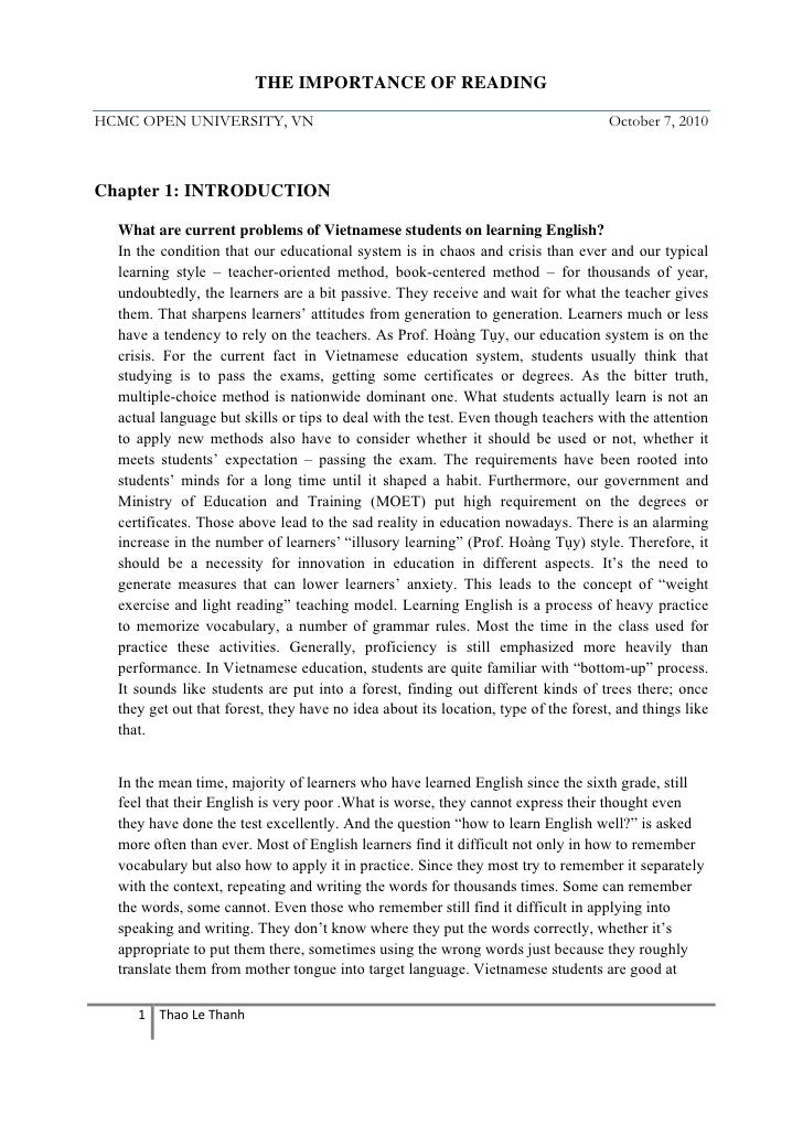 Transfer Essay Examples The Importance Of Reading Hcmc Open University  Conflict Resolution Essay also Sisterhood Essay The Importance Of Reading On Teaching And Learning Political Systems Essay