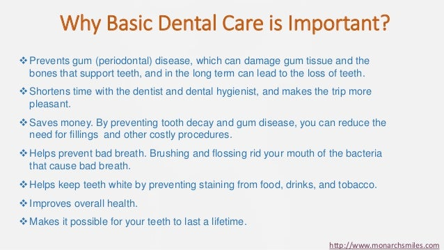 importance of dental care Preventive dentistry emphasizes the importance of ongoing hygiene procedures and daily practices to prevent tooth decay and other dental diseases and conditions effective preventive dentistry combines at-home oral care by patients with chairside treatments and counseling by dental professionals.