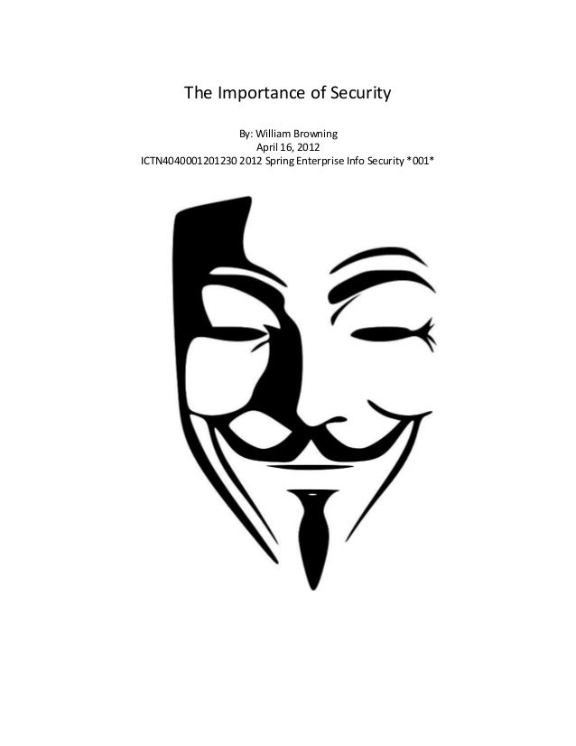 The Importance of SecurityBy: William BrowningApril 16, 2012ICTN4040001201230 2012 Spring Enterprise Info Security *001*