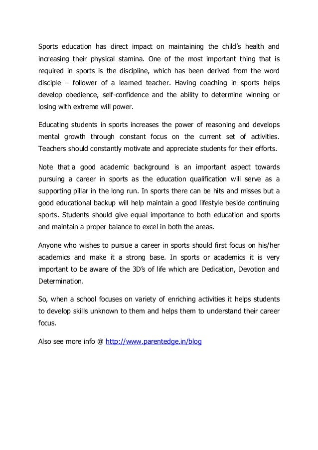 the increasing importance of sports for ones health and the integration of sports and education Need and importance of information technology in education from wikieducator  education is a life long process therefore anytime anywhere access to it is the need .
