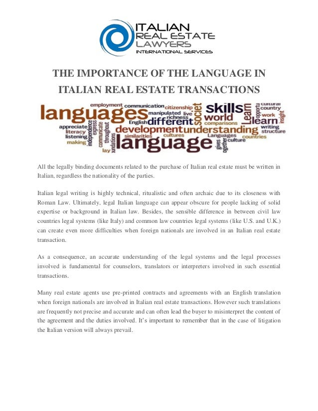 The Importance Of The Language In Italian Real Estate Transactions - Legally binding document
