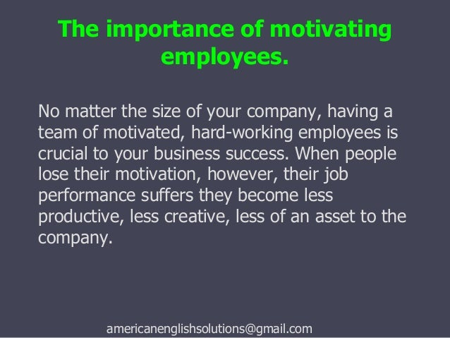 importance of motivation in the workplace pdf