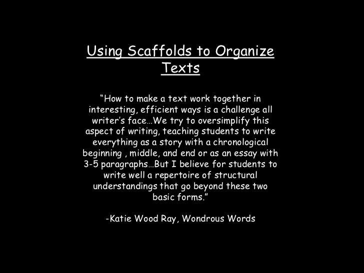 """Using Scaffolds to Organize Texts<br />""""How to make a text work together in interesting, efficient ways is a challenge all..."""