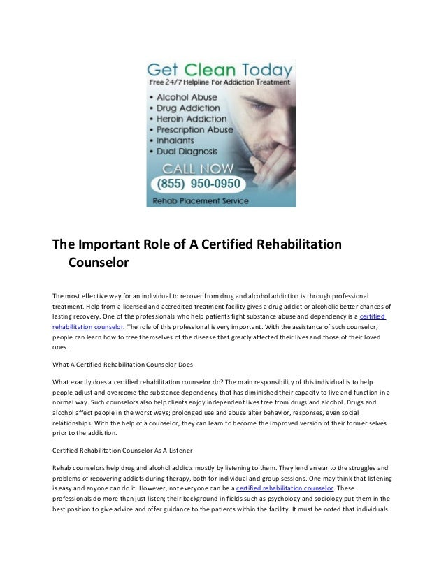 The important role of a certified rehabilitation counselor