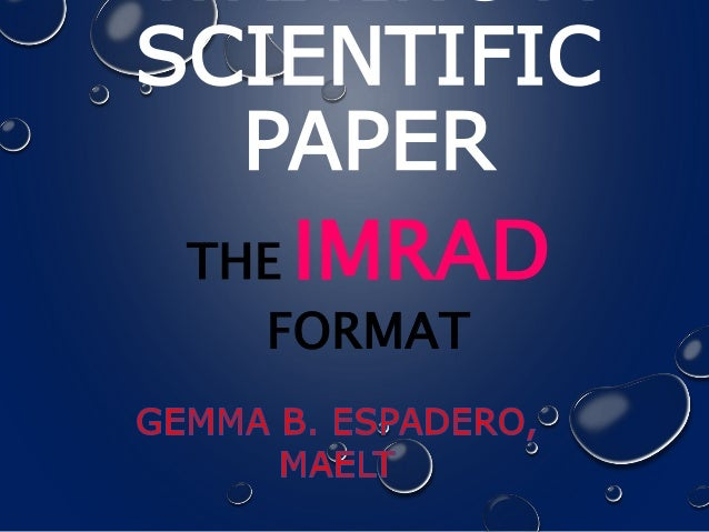science paper format These are expected to present significant research results that cannot be fully presented in the print format and merit the while the science paper is.