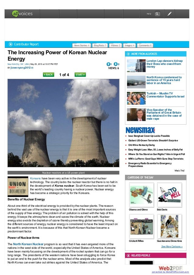 The Increasing Power of Korean NuclearEnergy  May 05, 2013 at 10:37 PM PDTNewYorkCity : NY : USABY1 0VIEWS: 61 of 4Nuclear...