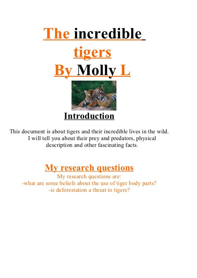 The incredible                  tigers               By Molly L                       IntroductionThis document is about t...