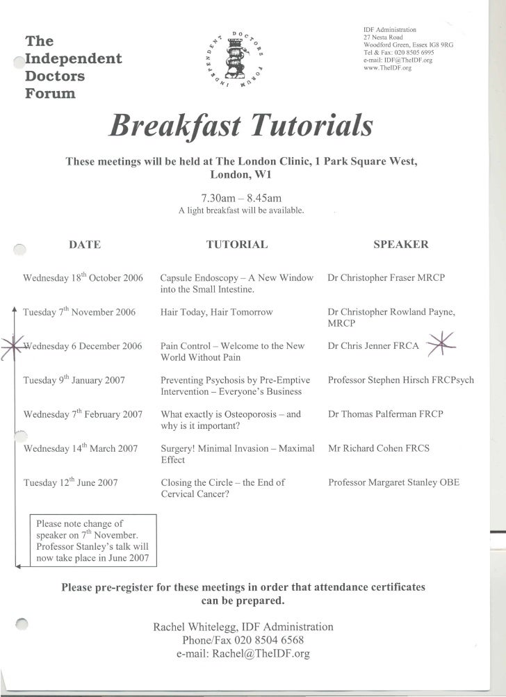 The Independent Doctors Forum breakfast tutorials