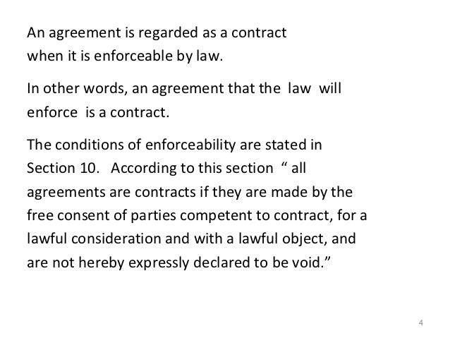 The indian contract act 1872 – Words of Agreement