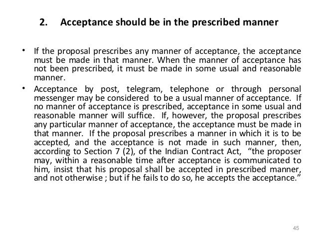 Acceptance indian contract act 1982