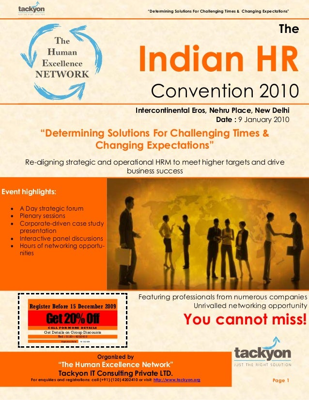 """""""Determining Solutions For Challenging Times & Changing Expectations"""" Page 1 The Indian HR Convention 2010 Intercontinenta..."""