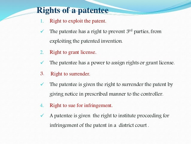 rights of patentee in india