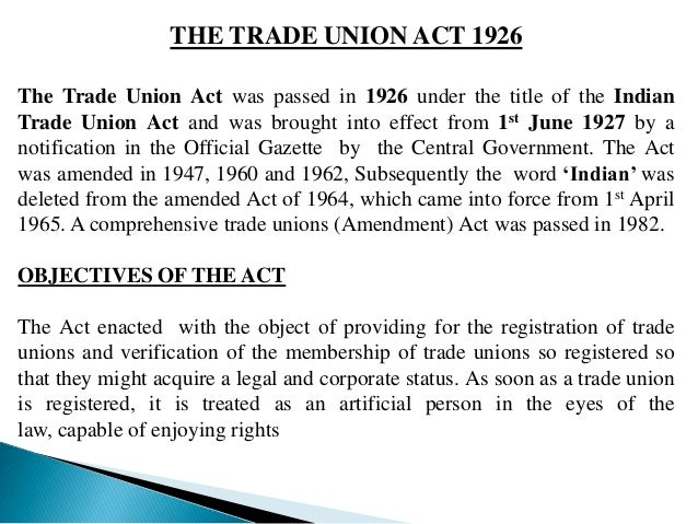 rules of trade union act 1926