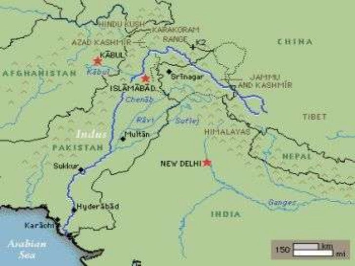 The Indus River System - River system map
