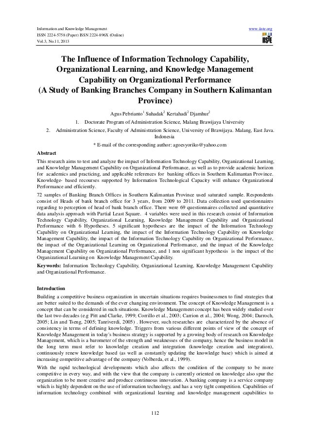 Information and Knowledge Management ISSN 2224-5758 (Paper) ISSN 2224-896X (Online) Vol.3, No.11, 2013  www.iiste.org  The...