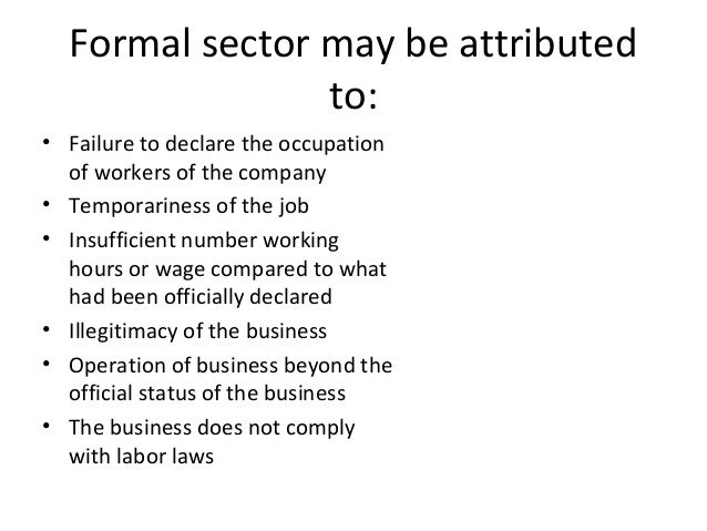 advantages and disadvantages of informal sector pdf