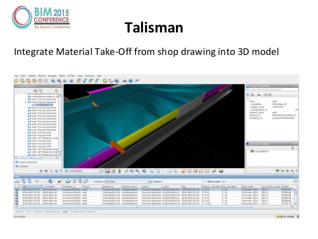 Talisman Integrate Material Take-Off from shop drawing into 3D model