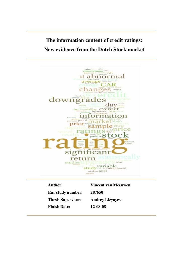 Dissertation credit rating