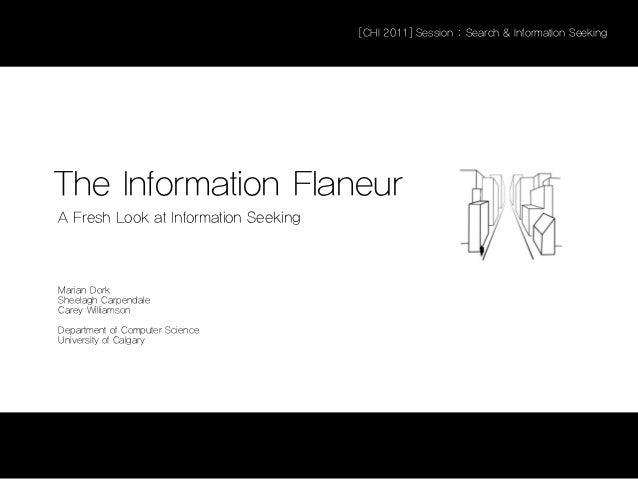 [CHI 2011] Session : Search & Information SeekingThe Information FlaneurA Fresh Look at Information SeekingMarian DorkShee...