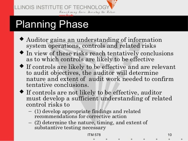 Transfo rm ing Live s. Inve nting the Future . www.iit.edu ITM 578 10 ILLINOIS INSTITUTE OF TECHNOLOGY Planning Phase  Au...
