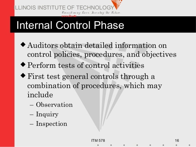 Transfo rm ing Live s. Inve nting the Future . www.iit.edu ITM 578 16 ILLINOIS INSTITUTE OF TECHNOLOGY Internal Control Ph...