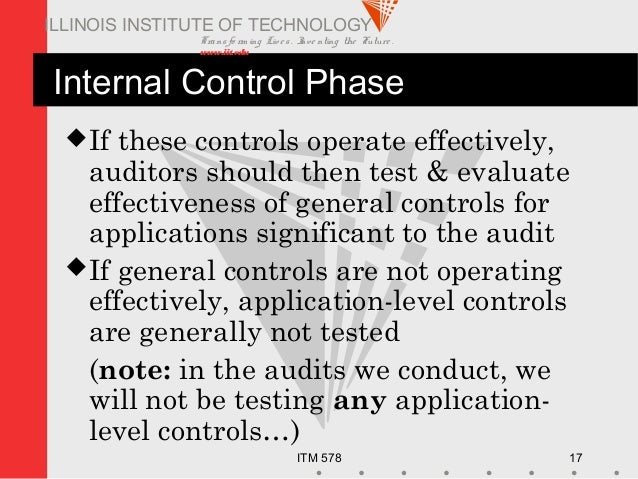 Transfo rm ing Live s. Inve nting the Future . www.iit.edu ITM 578 17 ILLINOIS INSTITUTE OF TECHNOLOGY Internal Control Ph...