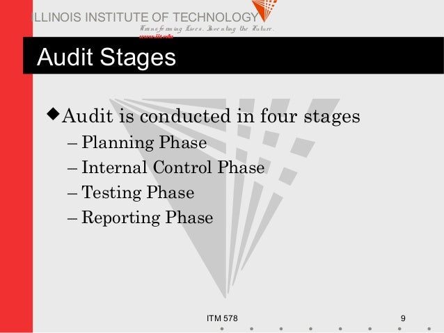 Transfo rm ing Live s. Inve nting the Future . www.iit.edu ITM 578 9 ILLINOIS INSTITUTE OF TECHNOLOGY Audit Stages Audit ...
