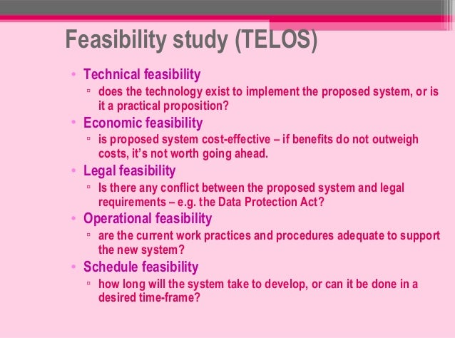 feasibility study about grading system In the following, we first examine several types (or classes) of feasibility criteria, while in the next paragraph ( 82) we take a closer look at the procedure of evaluating, or grading, the feasibility of a project.