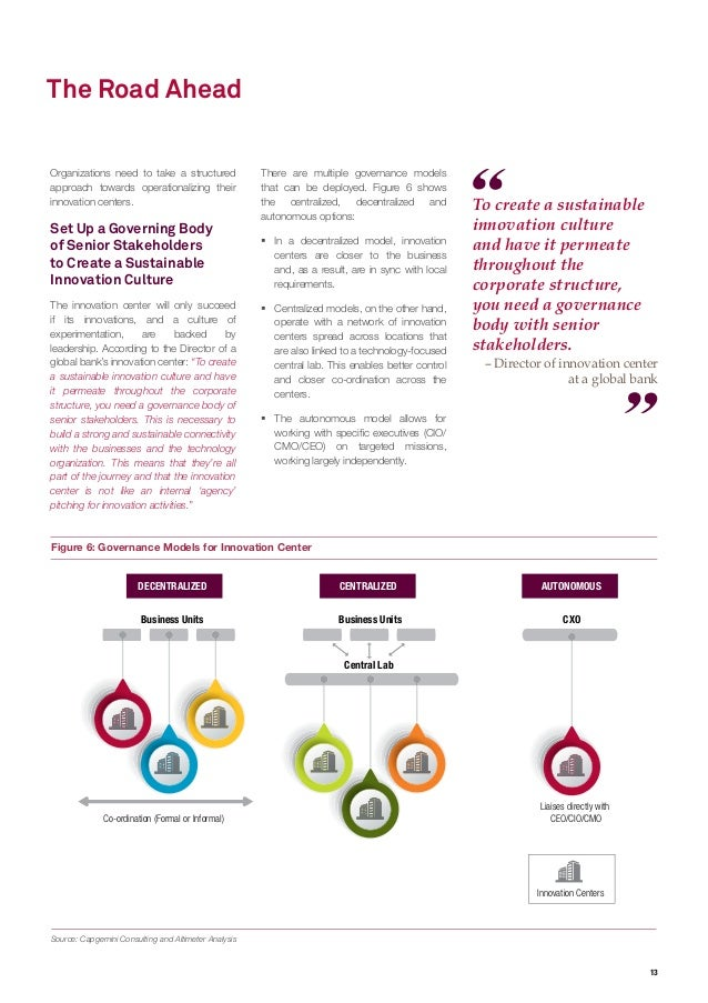 13 To create a sustainable innovation culture and have it permeate throughout the corporate structure, you need a governan...