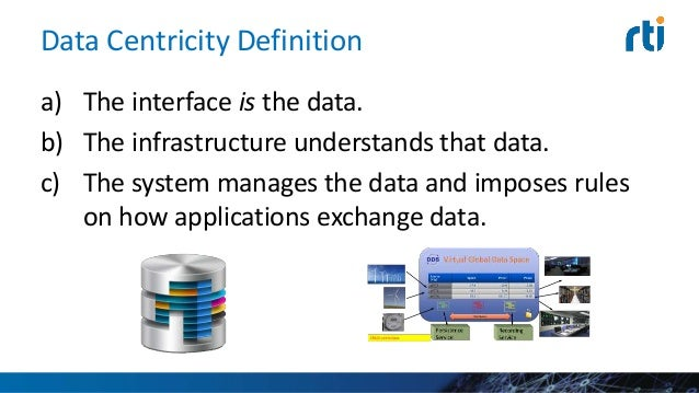 Data Centric is the Opposite of OO Object Oriented • Encapsulate data • Expose methods Data Centric • Encapsulate methods ...