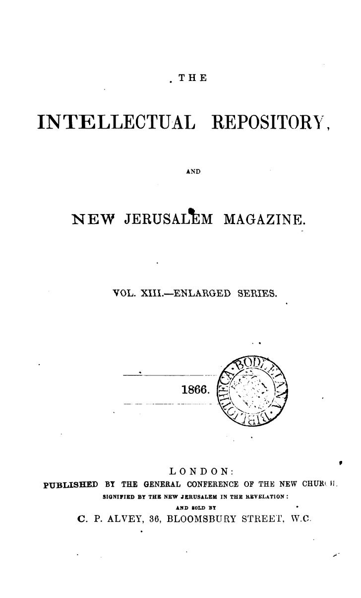 .THEINTELLECTUAL                           REPOSITOR~,                                 AND     NEW JERUSALkM MAGAZINE.    ...