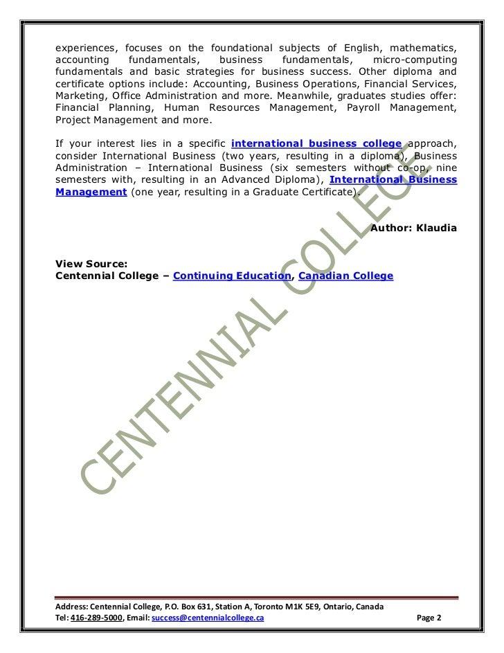 The International Business School Approach At Centennial College Open