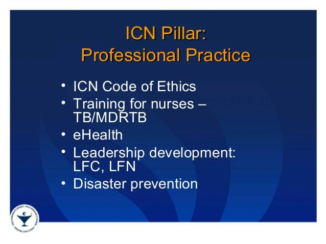 icn code of nursing The international council of nurses' (icn) code of ethics also includes a central role for advocacy as with the definition offered by benner, the role of collaboration with patients, other healthcare providers, and society is evident in these statements from the icn code of ethics for nurses:.