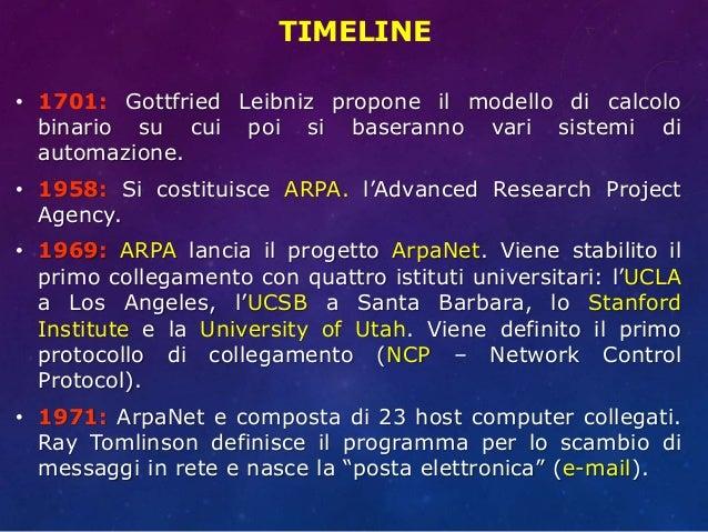 TIMELINE • 1701: Gottfried Leibniz propone il modello di calcolo binario su cui poi si baseranno vari sistemi di automazio...