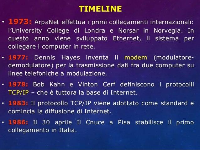 TIMELINE • 1973: ArpaNet effettua i primi collegamenti internazionali: l'University College di Londra e Norsar in Norvegia...
