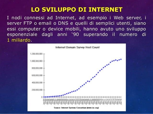 LO SVILUPPO DI INTERNET I nodi connessi ad Internet, ad esempio i Web server, i server FTP o email o DNS e quelli di sempl...