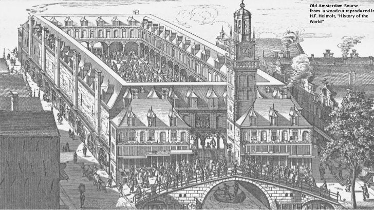 """Old Amsterdam Boursefrom a woodcut reproduced inH.F. Helmolt, """"History of theWorld"""""""