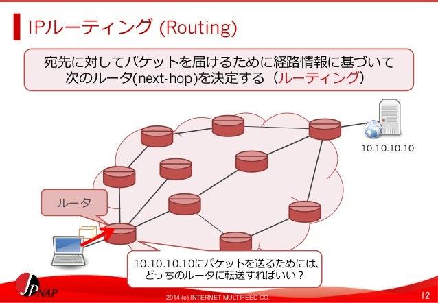 IPルーティング (Routing)  宛先に対してパケットを届けるために経路路情報に基づいて  次のルータ(next-hop)を決定する(ルーティング)  2014 (c) INTERNET MULTIFEED CO. 12  ルータ  10...