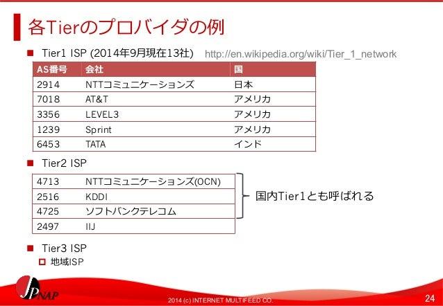 各Tierのプロバイダの例例  n Tier1 ISP (2014年年9⽉月現在13社)  http://en.wikipedia.org/wiki/Tier_1_network  AS番号会社国  2914NTTコミュニケーションズ⽇日本 ...