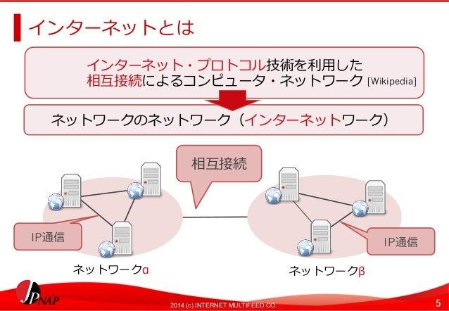 インターネットとは  インターネット・プロトコル技術を利利⽤用した  相互接続によるコンピュータ・ネットワーク  ネットワークのネットワーク(インターネットワーク)  相互接続  [Wikipedia]  IP通信IP通信  ネットワークαネッ...