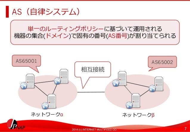 AS(⾃自律律システム)  単⼀一のルーティングポリシーに基づいて運⽤用される  機器の集合(ドメイン)で固有の番号(AS番号)が割り当てられる  AS65001AS65002  相互接続  ネットワークαネットワークβ  2014 (c) I...