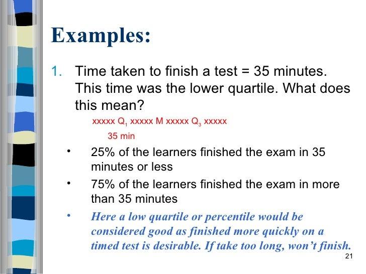 The Interpretation Of Quartiles And Percentiles July 2009