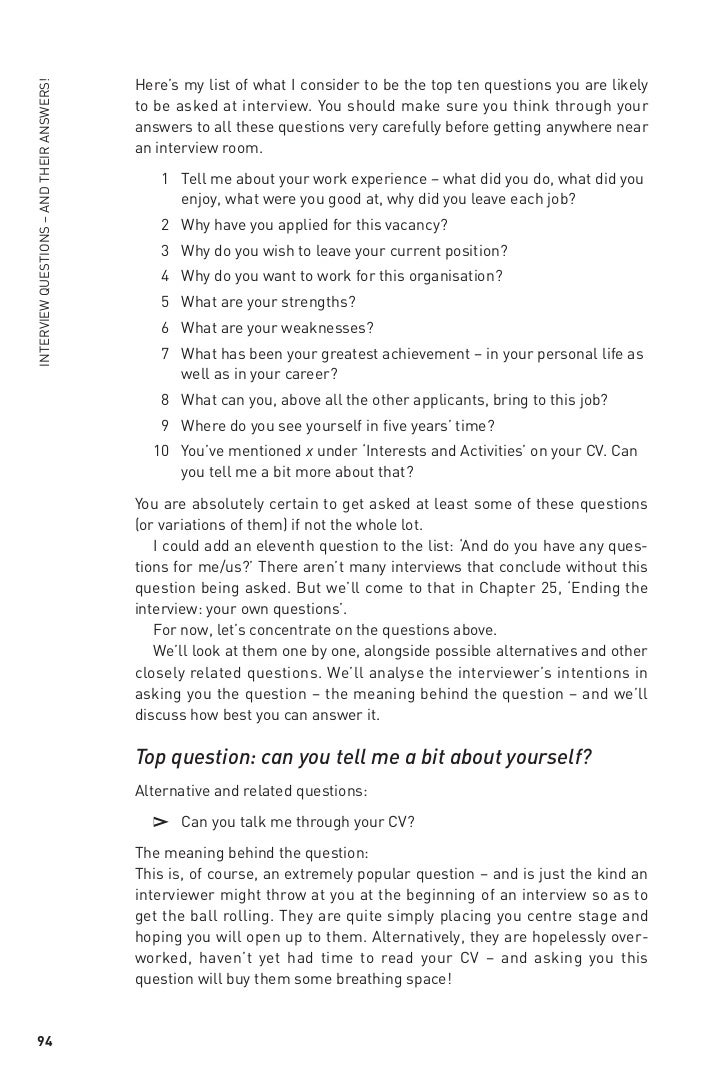 the interview book chapter 19the top 10interviewquestions 9 here s my list