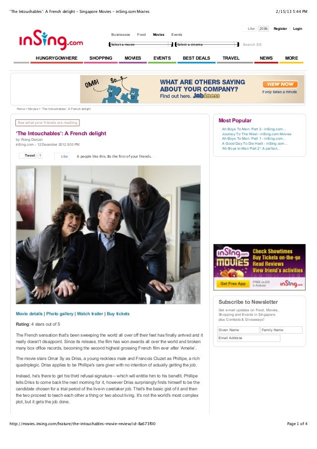 'The Intouchables': A French delight - Singapore Movies - inSing.com Movies                                               ...