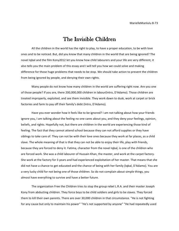 Marielle The Invisible Children Essay Final Copy